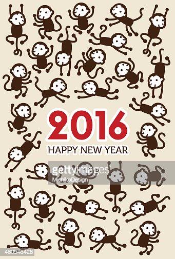 Tarjeta de año nuevo con monos : Arte vectorial