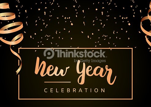 new year celebration greeting card new year party black and gold design