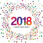 2018 New year Celebration greeting vector Illustration design template