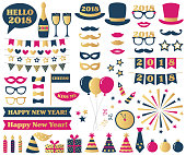 New Year Eve party vector photo booth props