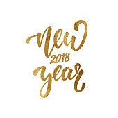 New Year. Gold foil lettering for New Year 2018. Greeting hand lettering for winter 2018 season.