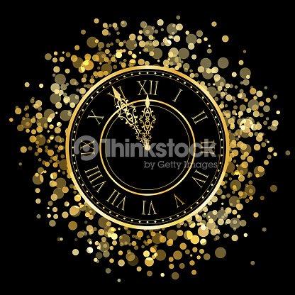 new year gold shiny clock : stock vector