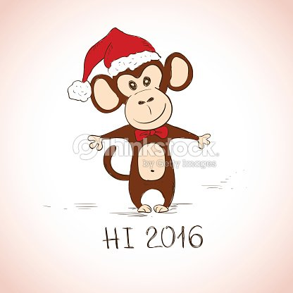 New Year Greeting Card With Funny Monkey Vector Art | Thinkstock