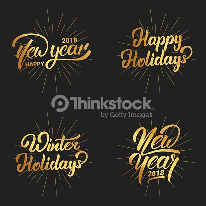 new year happy new year 2018 hand lettering labels set with gold shiny texture hand drawn icon for new year card poster design etc