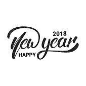 New Year. Happy New Year 2018 hand lettering with grunge retro texture. Hand drawn icon for New Year card, poster, design etc