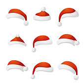 New Year hat set collection red cap. Vector illustration
