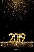2019 New Year luxury design concept. Vector golden 2019 New Year vertical template with falling golden snow