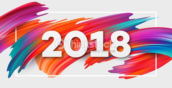 2018 new year on the background of a colorful brushstroke oil or acrylic paint design element