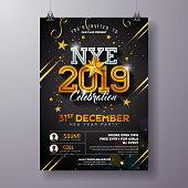 2019 New Year Party Celebration Poster Template Illustration with Shiny Gold Number on Black Background. Vector Holiday Premium Invitation Flyer or Promo Banner