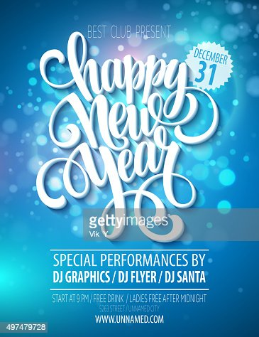 New Year Party Poster Template Vector Illustration Vector Art