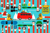 New Year travel flat with red travel bus.Vector illustration