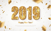 Happy New Year Banner with Gold 2019 Numbers on Bright Background with Flying Confetti. Vector illustration.