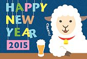 New Year's card template.Illustration of sheep.