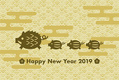 2019 New Year's card: Year of the boar and Japanese traditional pattern