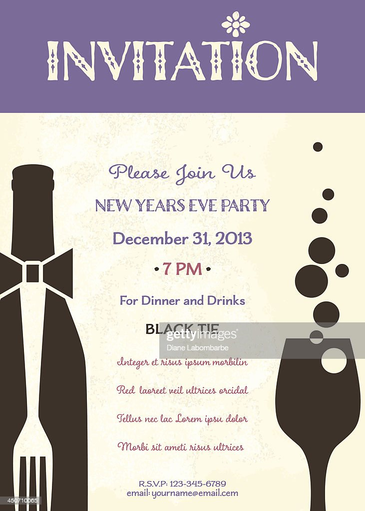 New Years Eve Party Invitation Template Vector Art – New Year Invitation Template
