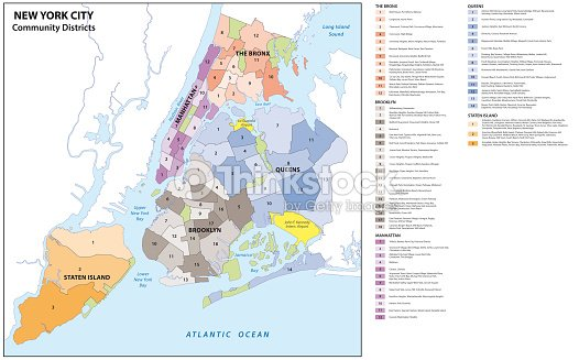 New York City Boroughs Districts Neighborhoods Map Stock Vector
