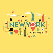 New York City icons and typography design for cards, banners, tshirts, posters