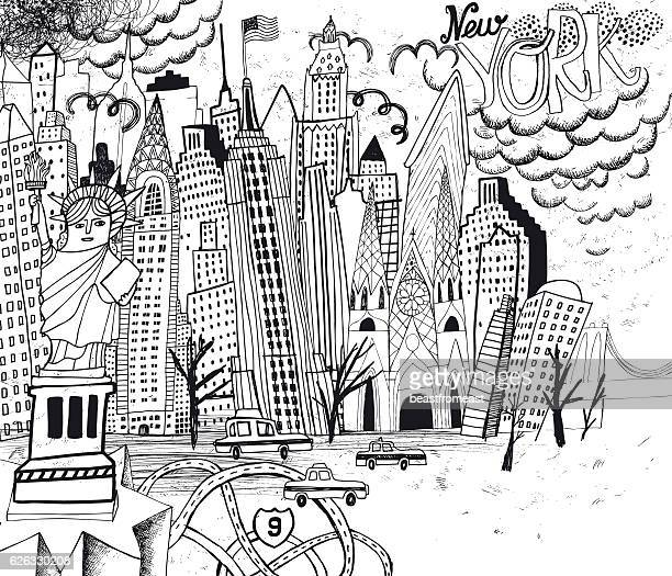 New York City line art coloring page