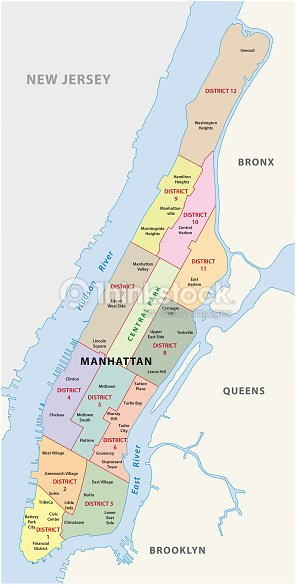 Map Of New York City Manhattan.New York City Manhattan District Map Stock Vector Thinkstock