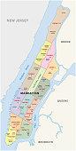 New york city, manhattan district vector map