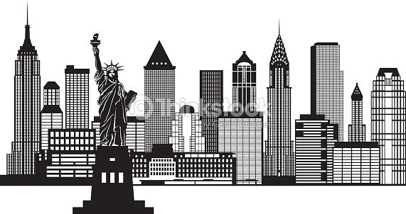 new york city skyline black and white vector illustration vector art thinkstock. Black Bedroom Furniture Sets. Home Design Ideas