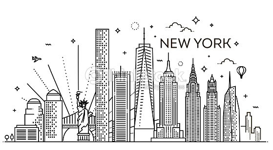 New York City Skyline Vector Illustration Flat Design Stock Vector