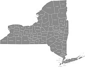 New York county map vector outline gray background. Map of New York state of USA with borders and counties names labeled