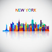 New York skyline silhouette in colorful geometric style. Symbol for your design. Vector illustration.