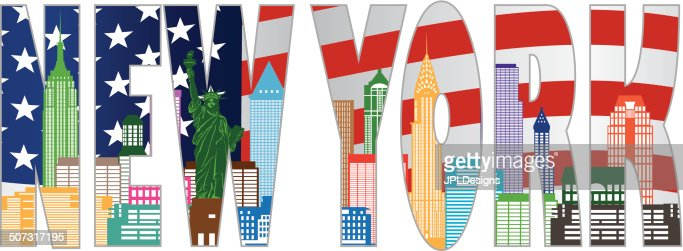 new york skyline text outline in color vector illustration vector