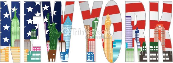new york skyline texte contour de couleur vector illustration clipart vectoriel thinkstock. Black Bedroom Furniture Sets. Home Design Ideas