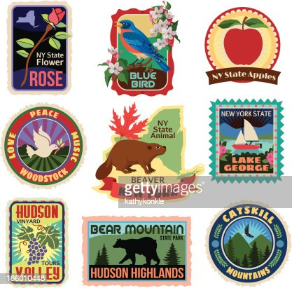 New york state travel stickers vector art getty images - Stickers geant new york ...