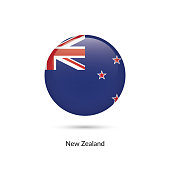 New Zealand flag - round glossy button. Vector Illustration.