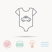 Newborn clothes icon. Baby shirt wear sign. Car symbol. Global connect network, ocean wave and burger icons. Lightbulb lamp symbol.