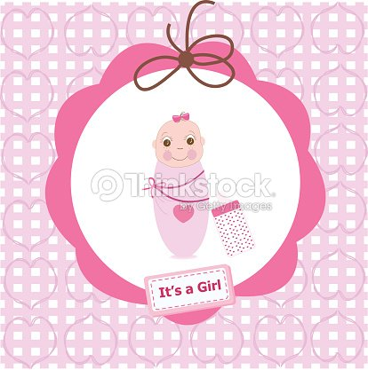 Newborn swaddle baby girl with bottle greeting card vector art newborn swaddle baby girl with bottle greeting card vector art m4hsunfo
