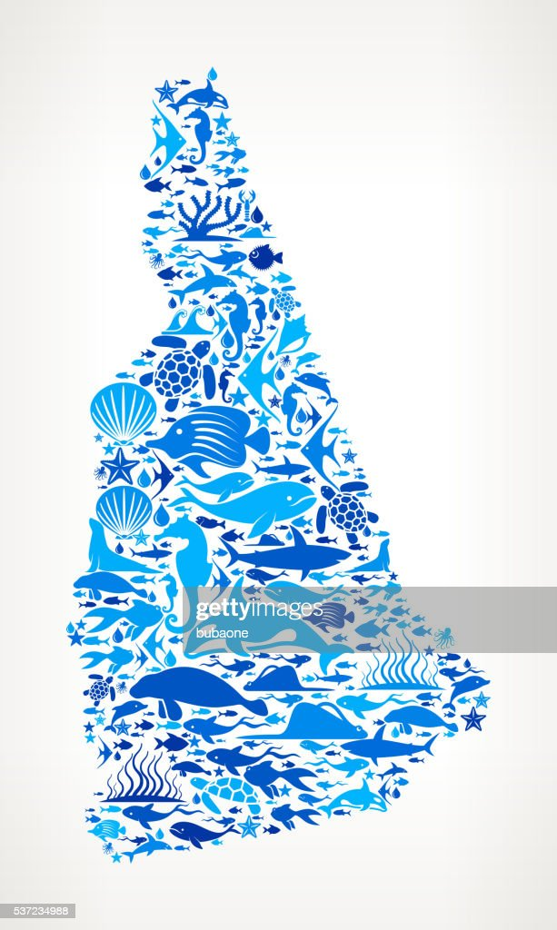 Newhampshire ocean marine life blue icon pattern vector for Nh fishing license cost