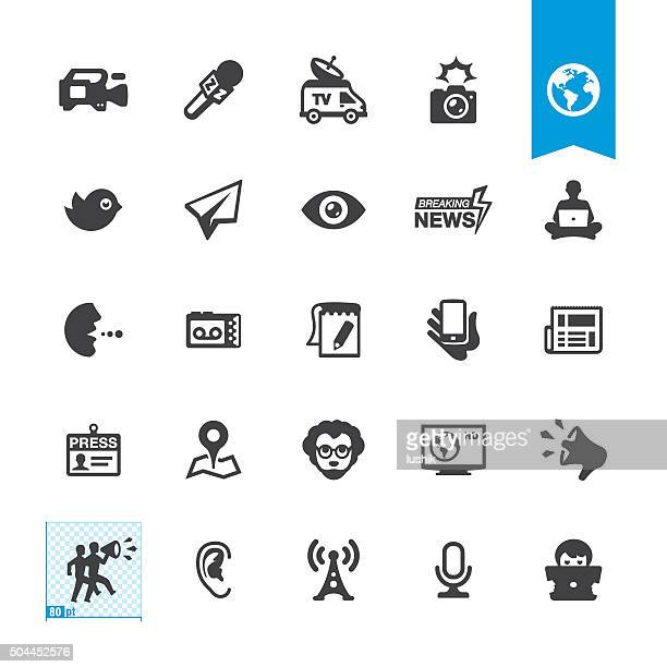 News media related vector icons