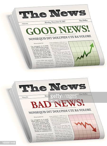 News paper saying good news and bad news