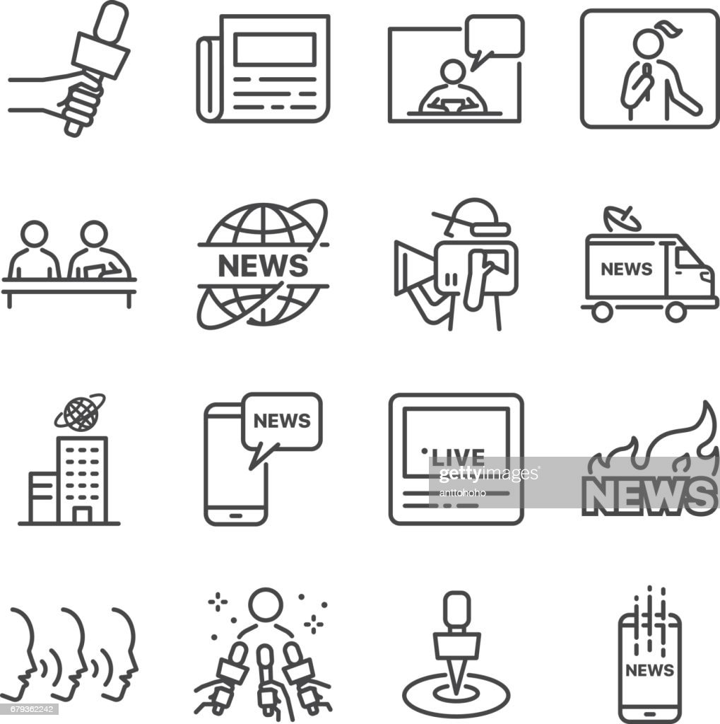 News Related Vector Line Icon Set Contains Such Icons As Rh Thinkstockphotos Com Newspaper Clip Art Black And White Background