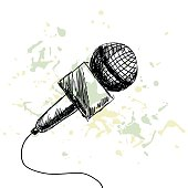 news report microphone on a white background with blots