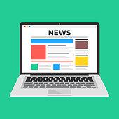 News website on laptop screen. Online news. Modern flat design vector illustration
