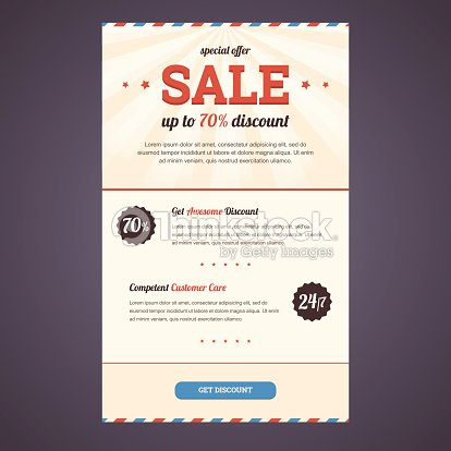 newsletter template design in flat style with discount offer vector