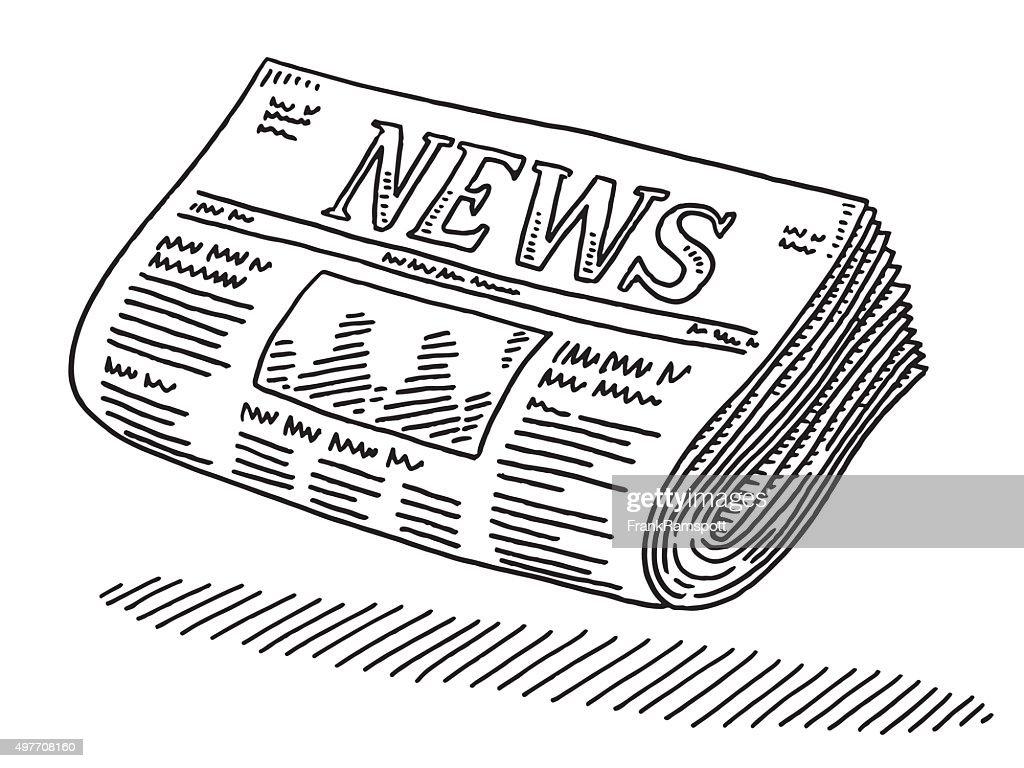Newspaper Drawing Vector Art