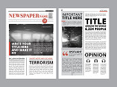Newspaper front page with several columns and photos. Vector magazine cover. Layout design project newspaper with fresh news daily illustration