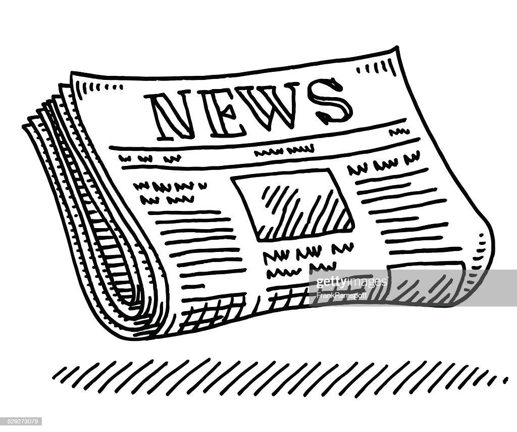 Line Drawing Newspaper : Journal journalisme dessin clipart vectoriel getty images