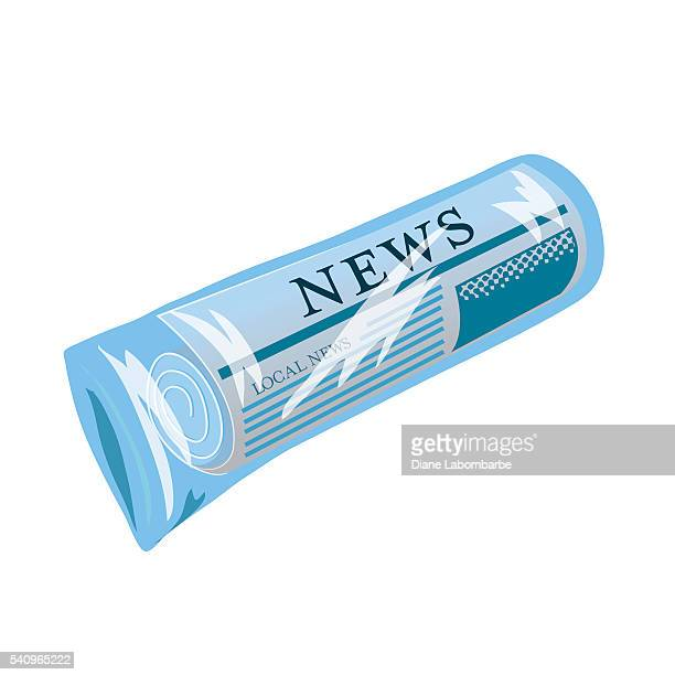 Newspaper Rolled Up Inside a Blue Plastic Bag
