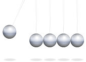 Newtons cradle. Physical toy with metal balls as pendulum - isolated vector illustration on white background.