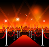 Red carpet with New-York city background