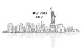 New York, USA skyline sketch. NYC city silhouette with Liberty monument. American landmarks. Urban  architectural landscape. Cityscape with famous buildings