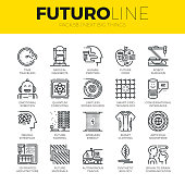 Unique thin line icons set of new future innovations in technology. Premium quality outline symbol collection. Modern linear pictogram pack of metaphors. Stroke vector  concept for web graphics.