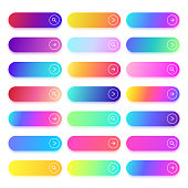 Next page, continue, search, browse, read more or transition colorful button template. Flat action gradient buttons with text space. Web ui vector set